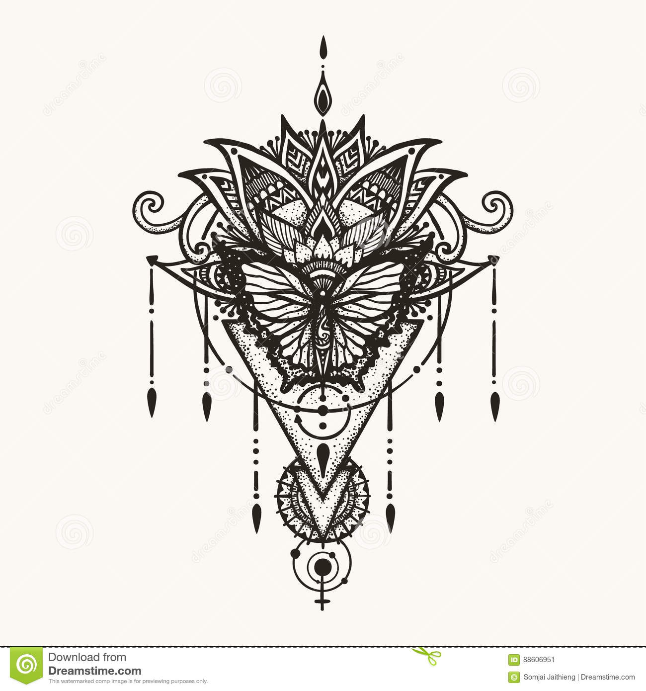 0951f00573651 Hand drawn butterfly on boho flowers with geometric symbol of female and  astrology for woman back tattoo, T-Shirt design and other design element.