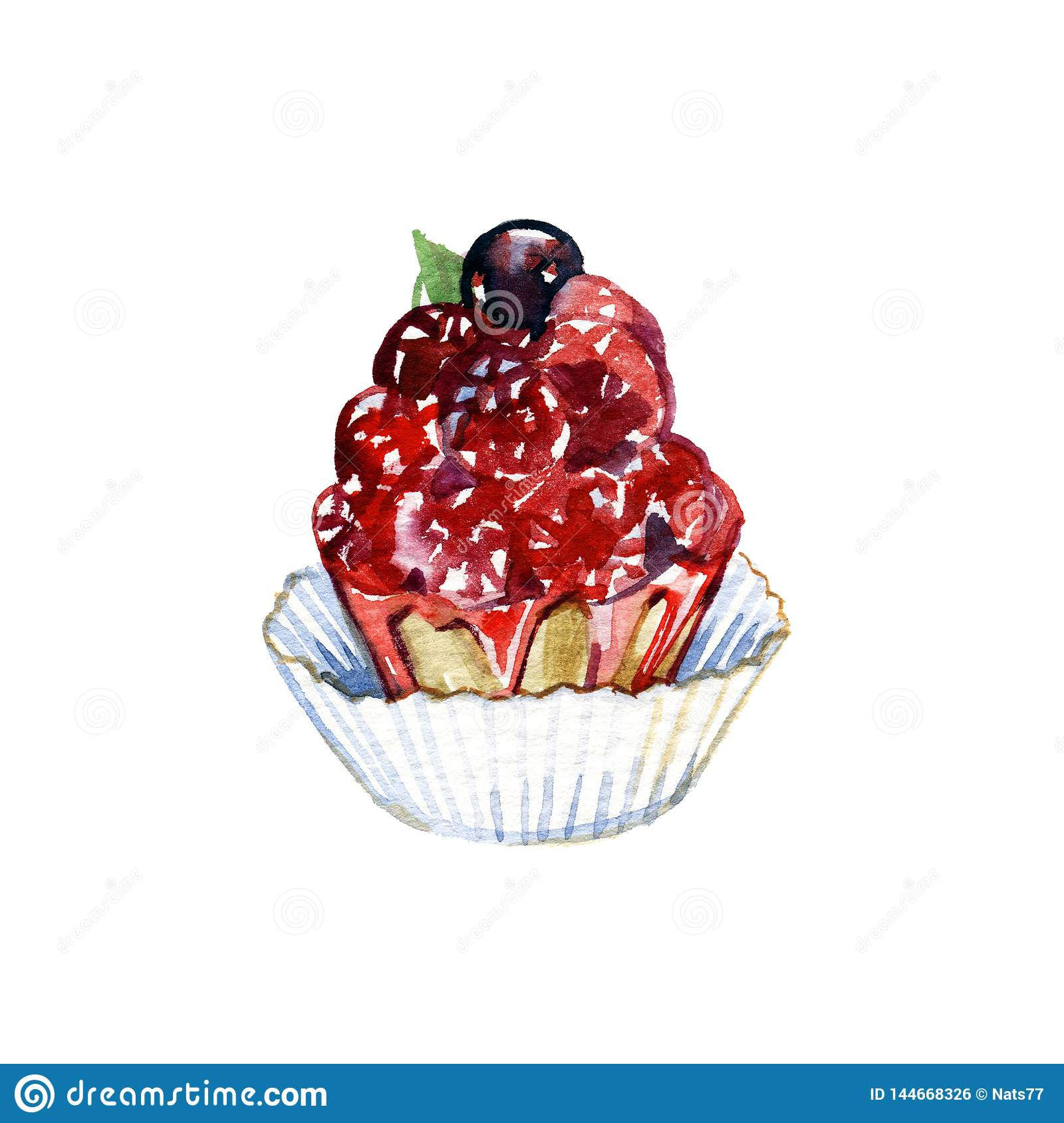 Hand drawn cake with watercolor texture. Cake with cream, berries. Hand painted sweet cake on a white background. Poster