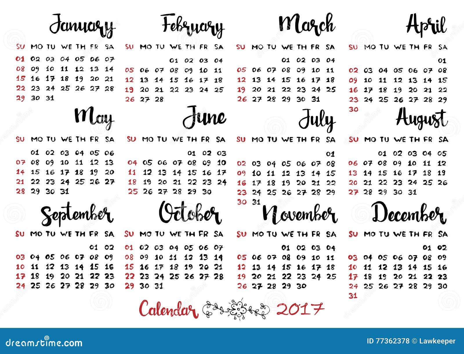Hand drawn calendar week starts on sunday stock