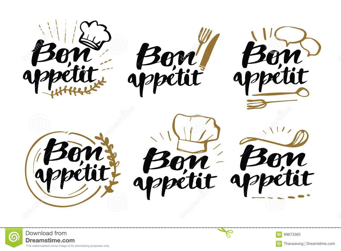 Download Hand Drawn Calligraphy Bon Appetit Phases Lettering Style Stock Vector