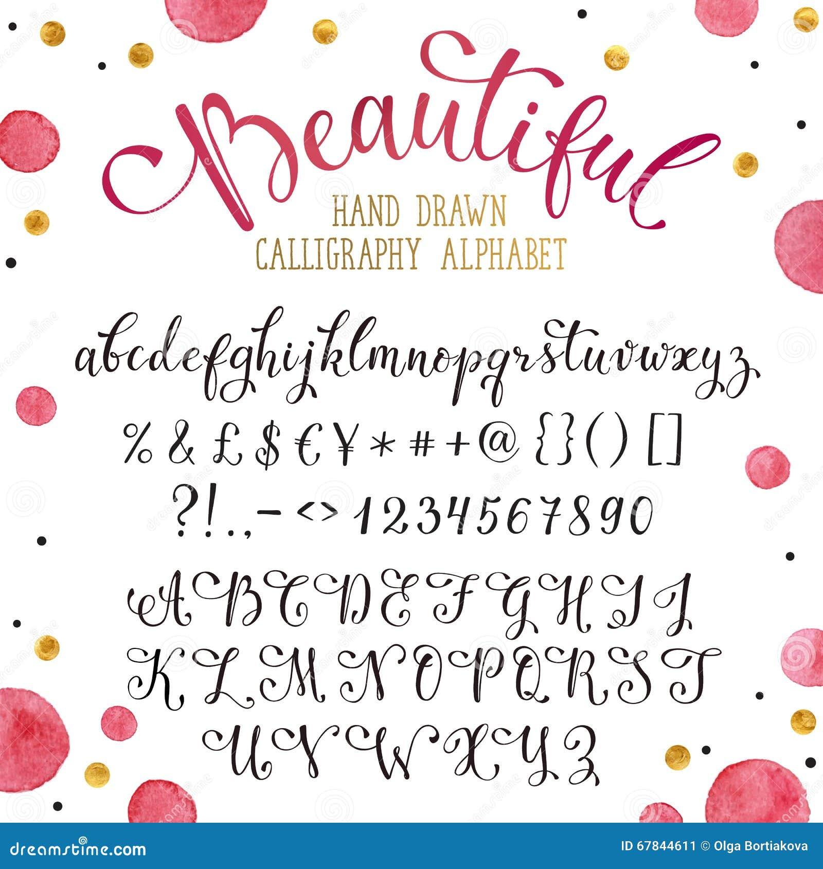 Hand drawn calligraphy font stock vector illustration