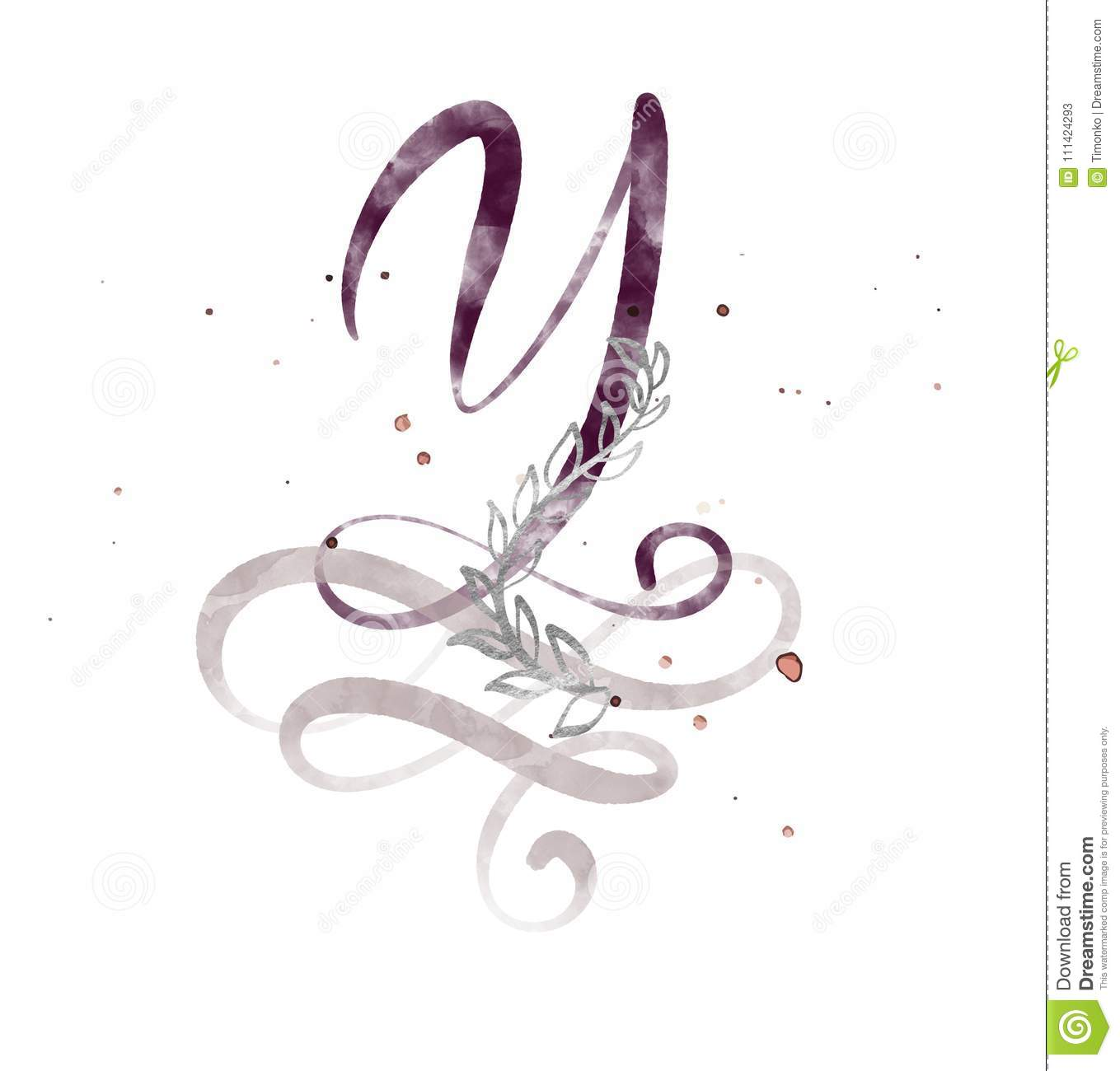 Hand Drawn Calligraphy Letter Y Watercolor Script Font Isolated