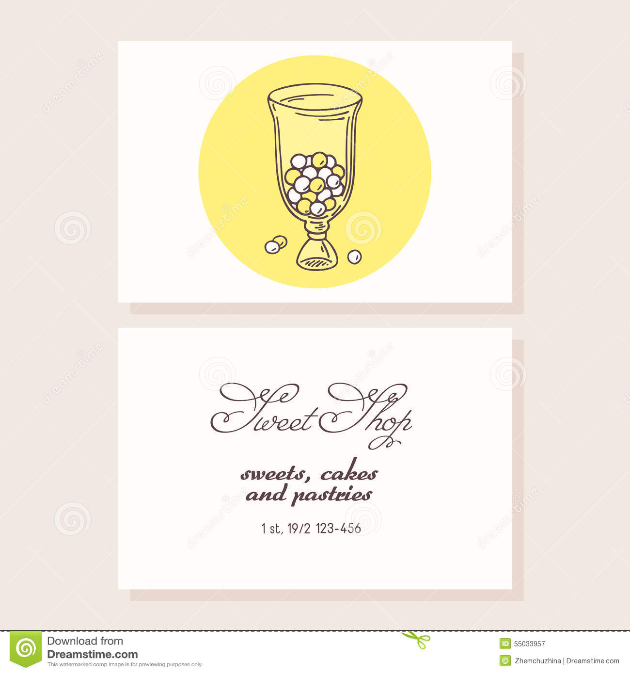 Hand Drawn Candy Bar Business Card Template Stock Vector