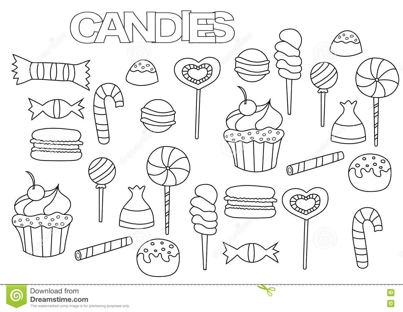 Royalty Free Vector Download Hand Drawn Candy Bar Set Coloring Book Page Template