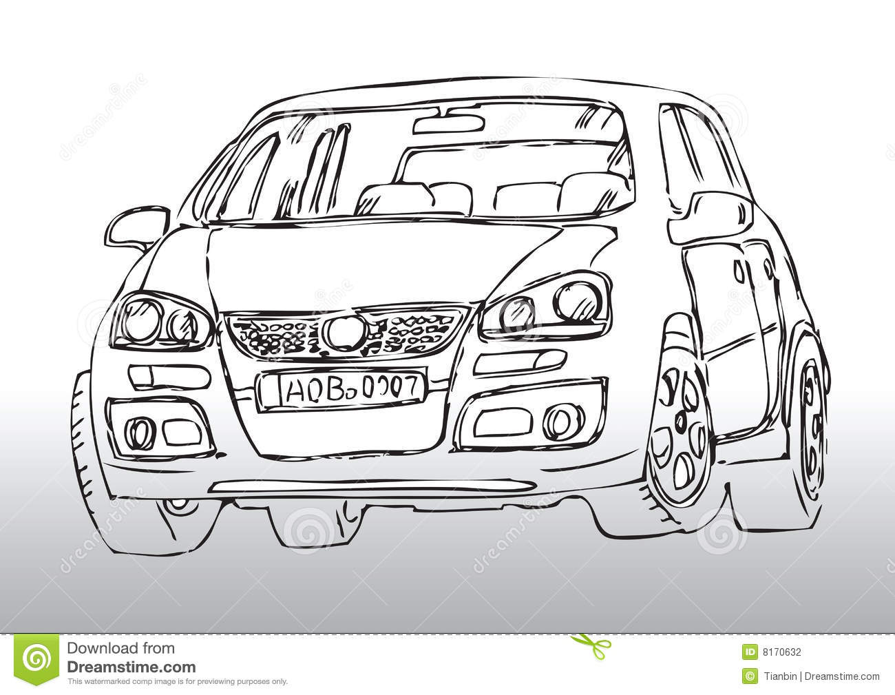 Hand drawn car sketch stock vector. Image of white, automotive ...