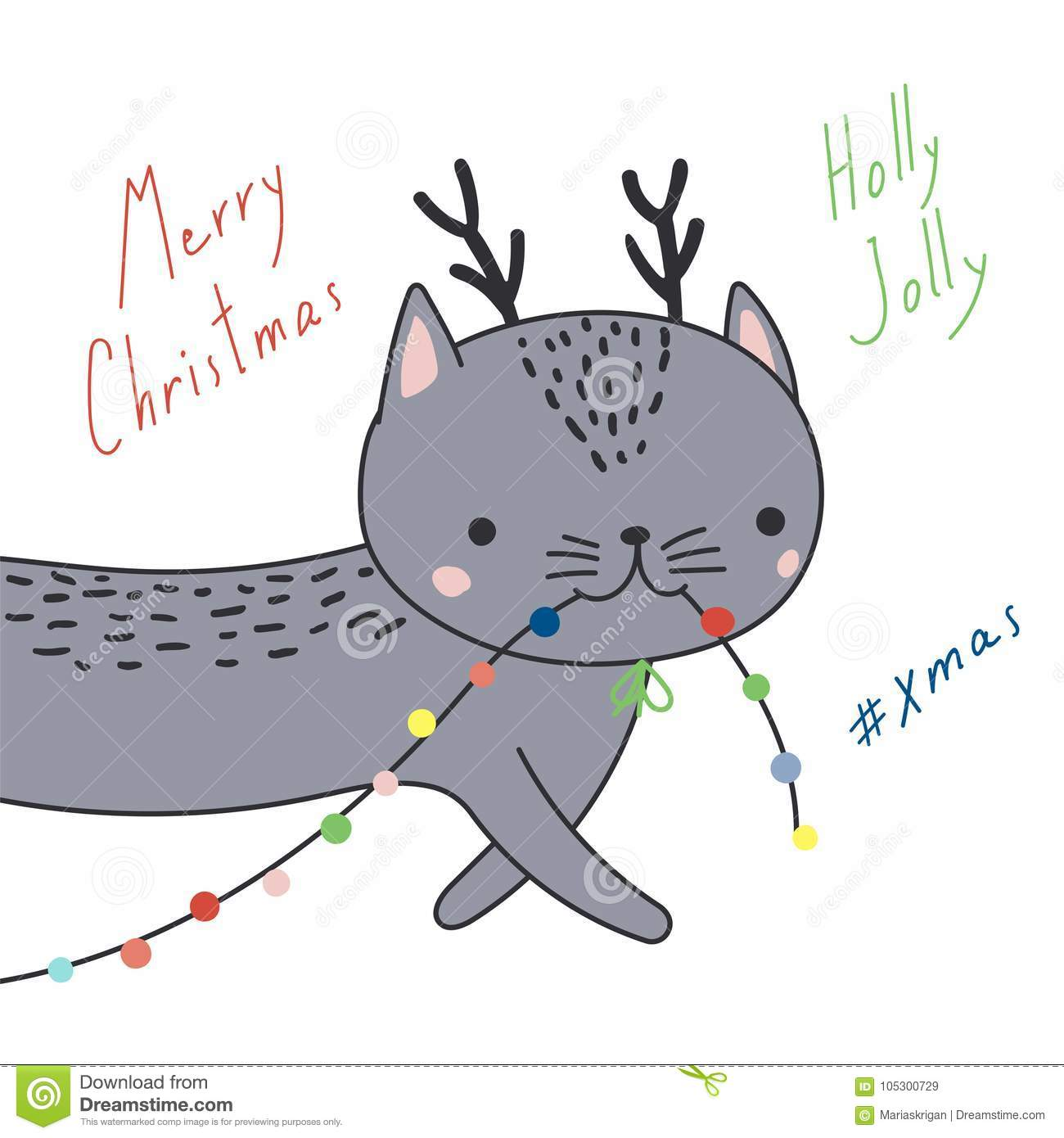 Cute Christmas Cats Greeting Card Stock Vector Illustration Of