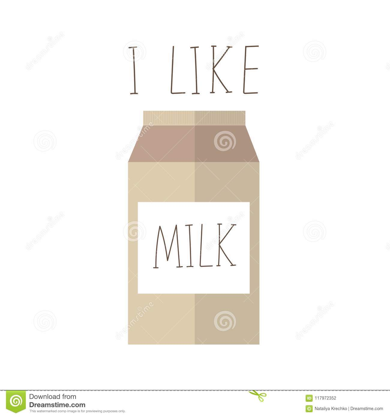 Hand Drawn Carton Milk Box Packages. Used For Poster, Banner, Web, T ...