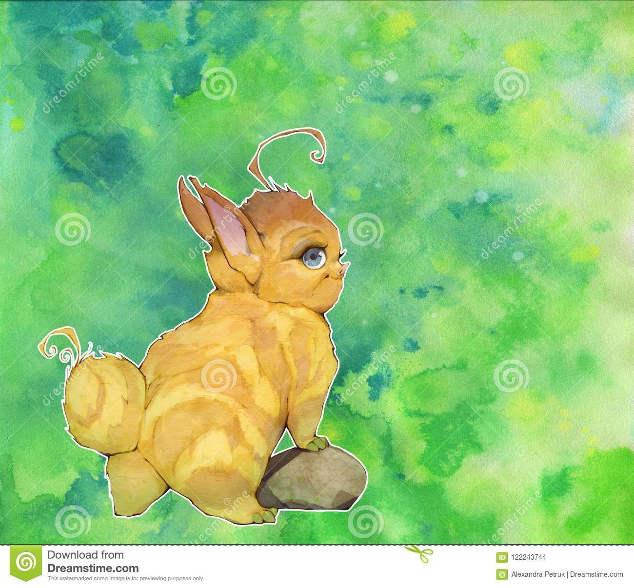 Hand Drawn Cartoon Anime Illustration Of A Cute Fantasy Baby Animals Looking Like Bunnies