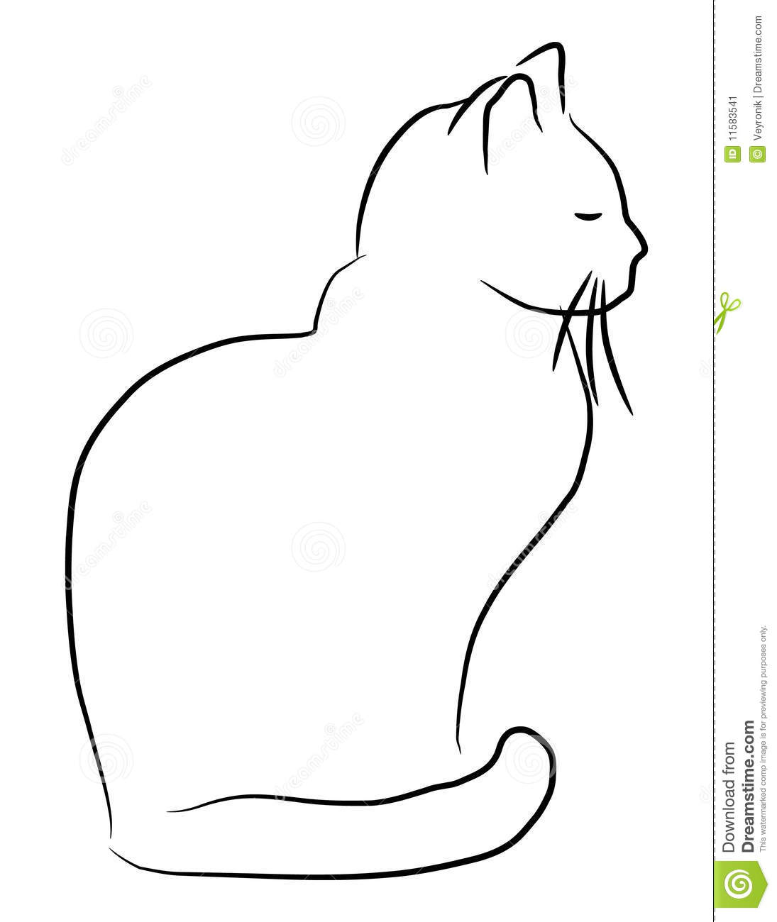 Vector hand drawn style illustration of a cartoon cat.