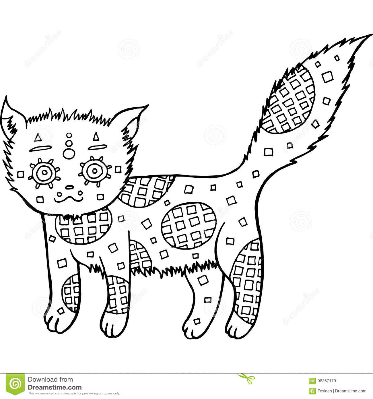 Hand Drawn Cat Coloring Page Stock Vector - Illustration of drawing ...