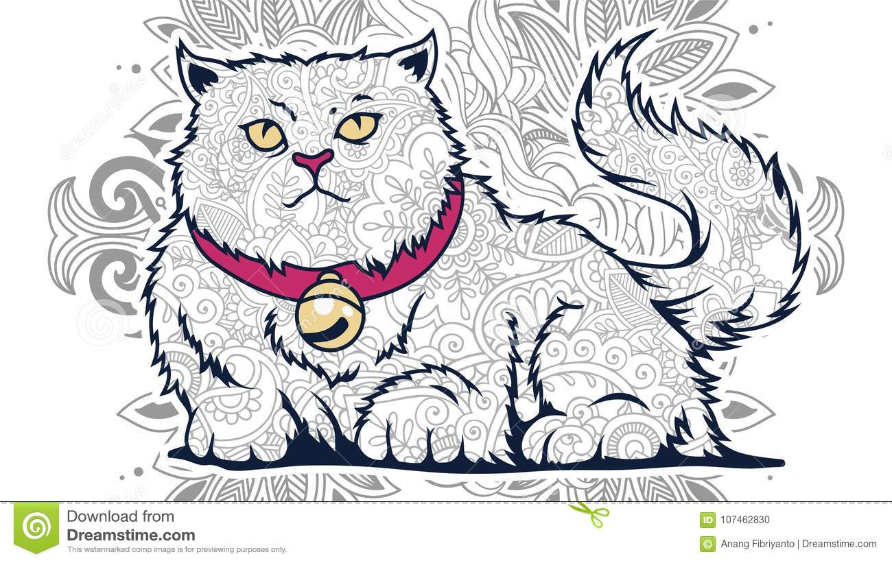 Funny Fat Cat In Floral Background Doodle For Adult Stress Release