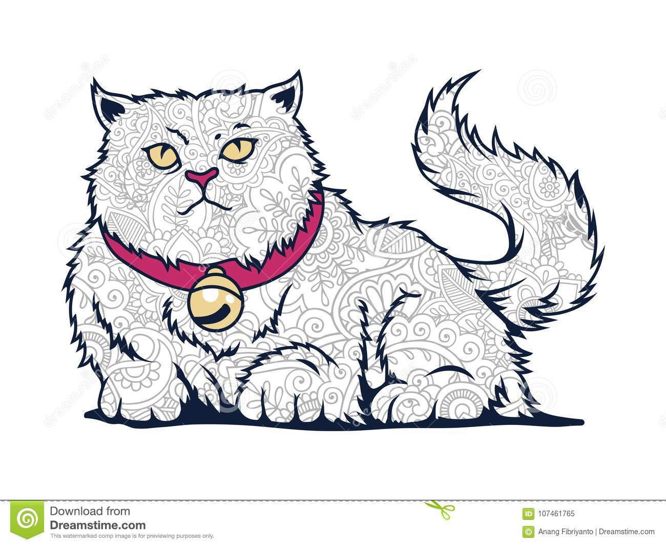 hand drawn cat doodle adult stress release coloring page isolated cat white background hand drawn cat doodle adult