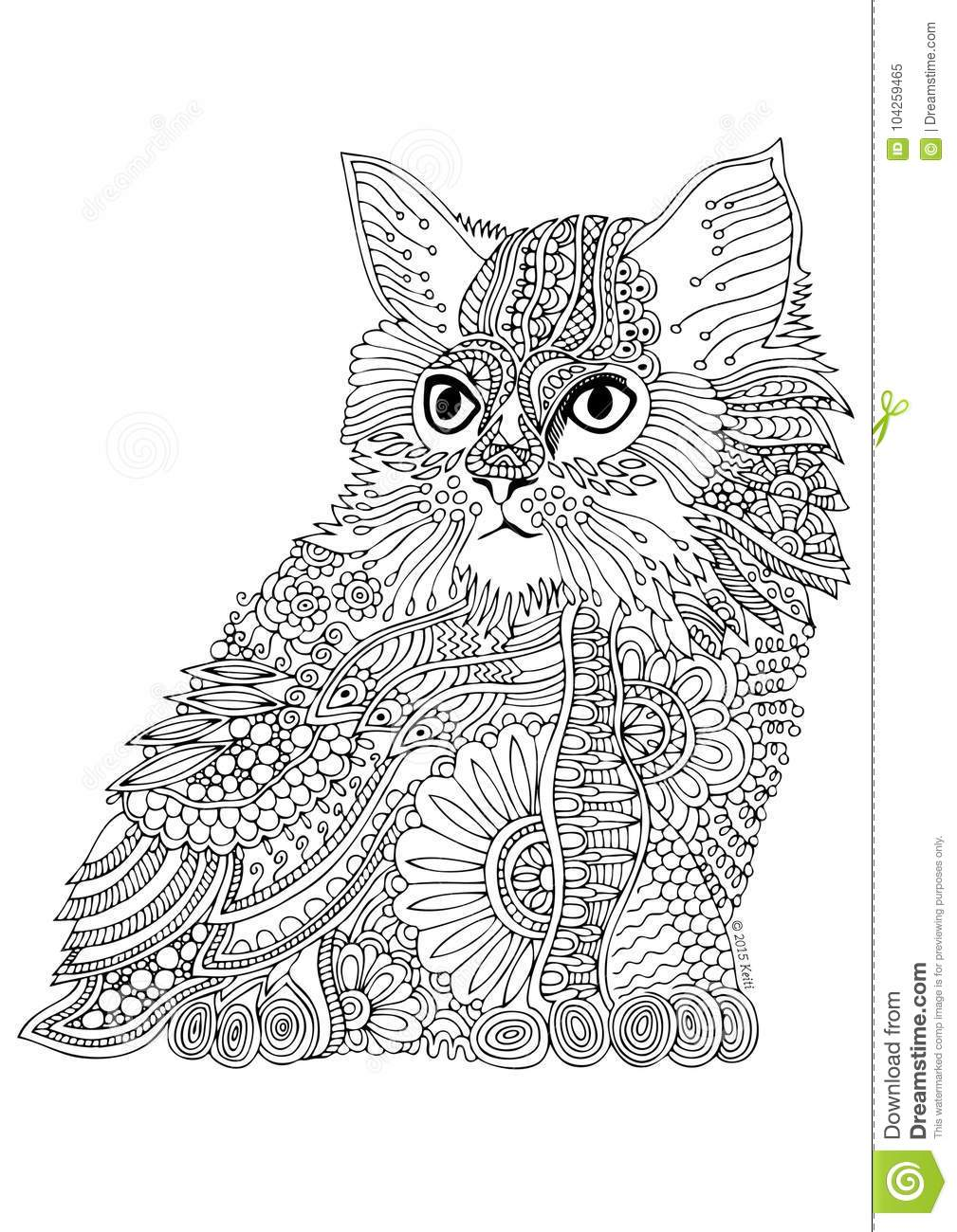 Hand Drawn Cat. Sketch For Anti-stress Coloring Page ...