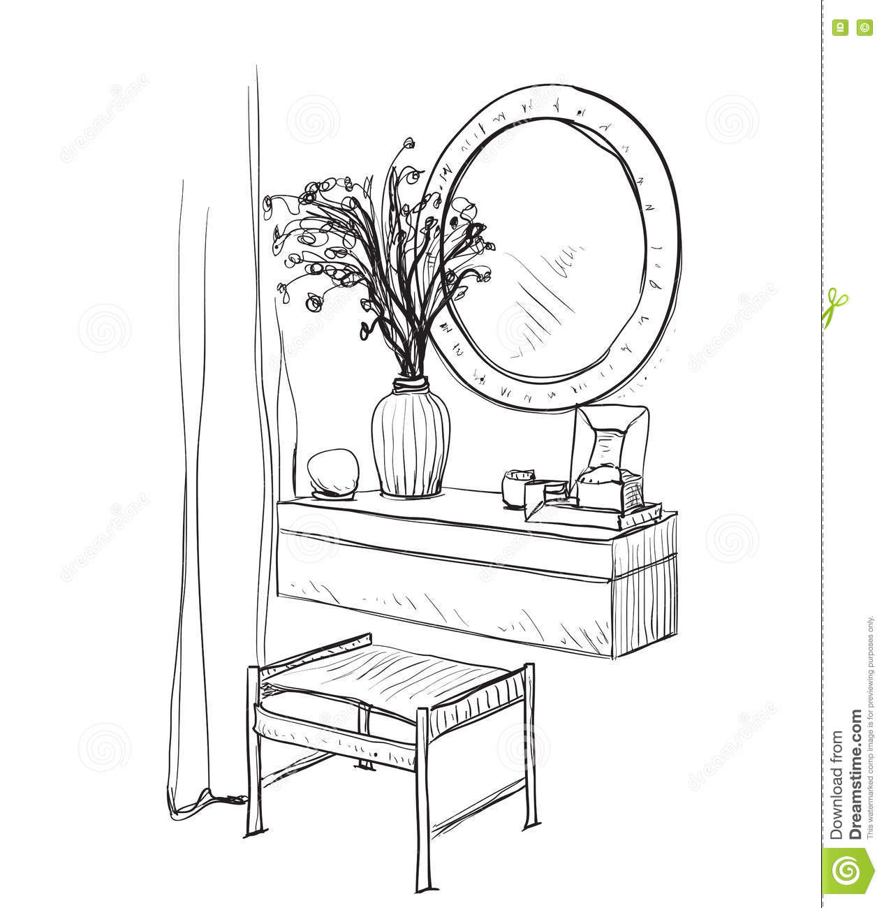hand mirror sketch. Hand Drawn Chair, Table And Mirror. Mirror Sketch