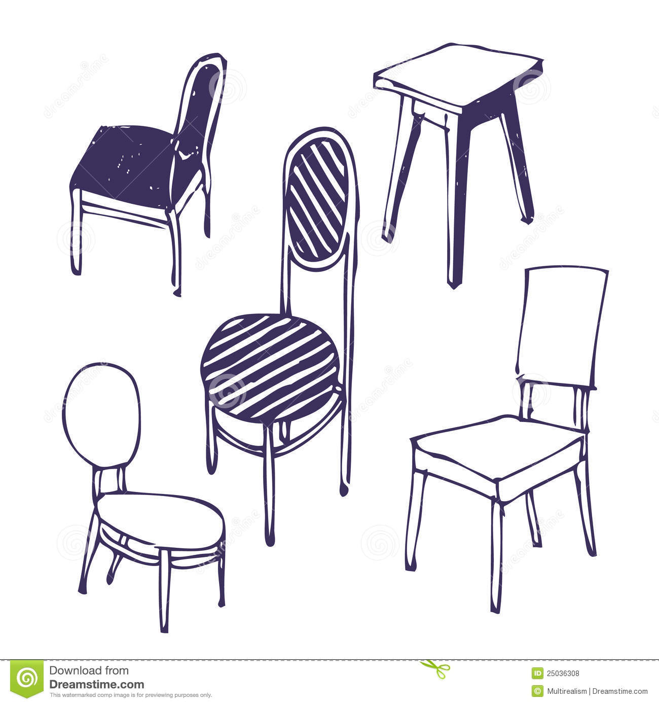 Hand Drawn Chairs Isolated Stock Illustration Image