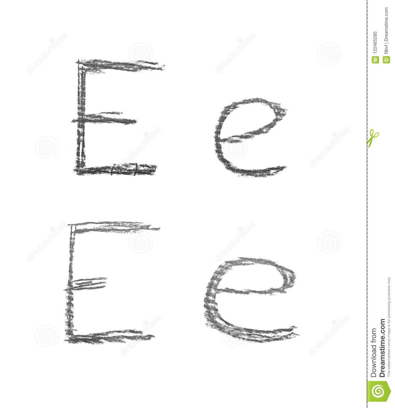 Hand Drawn Letter Set Isolated Stock Image Image Of