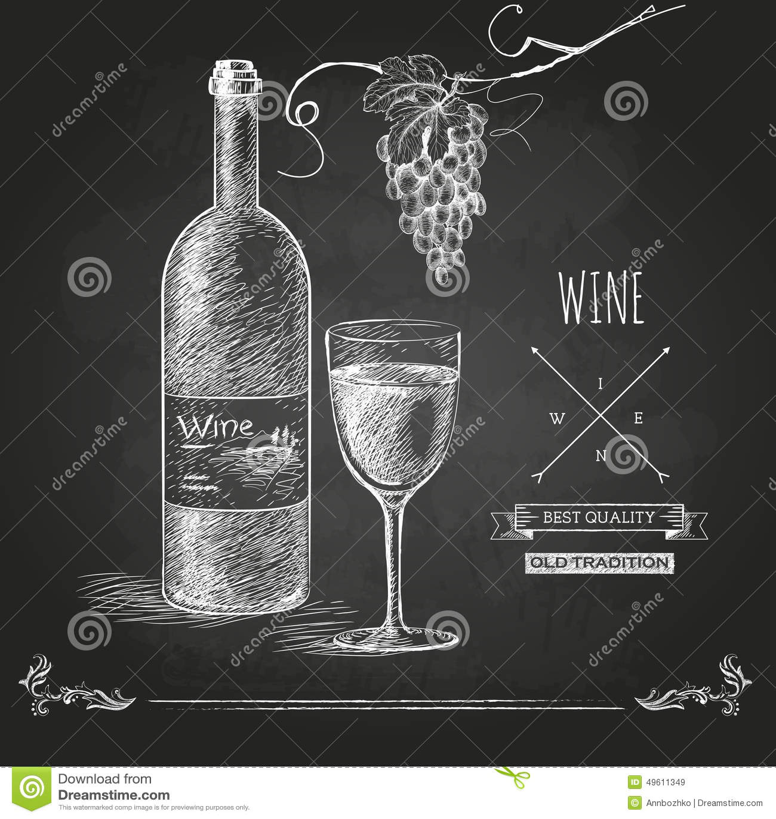 Hand drawn chalk wine background stock vector image for Wine chalkboard art
