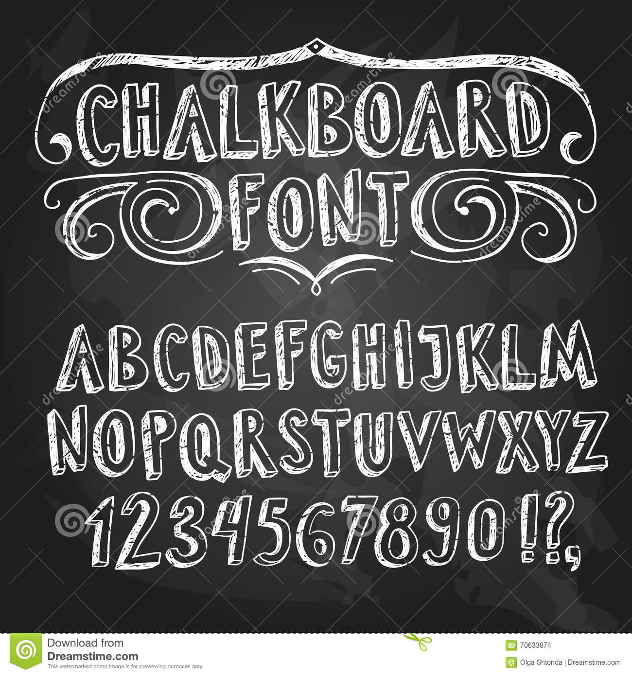 Hand Drawn Chalkboard Fonts Set Stock Illustration - Image: 70633889
