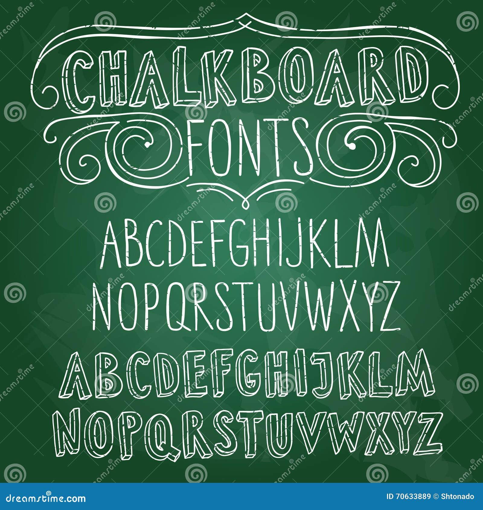 Hand Drawn Chalkboard Fonts Set Stock Illustration Image