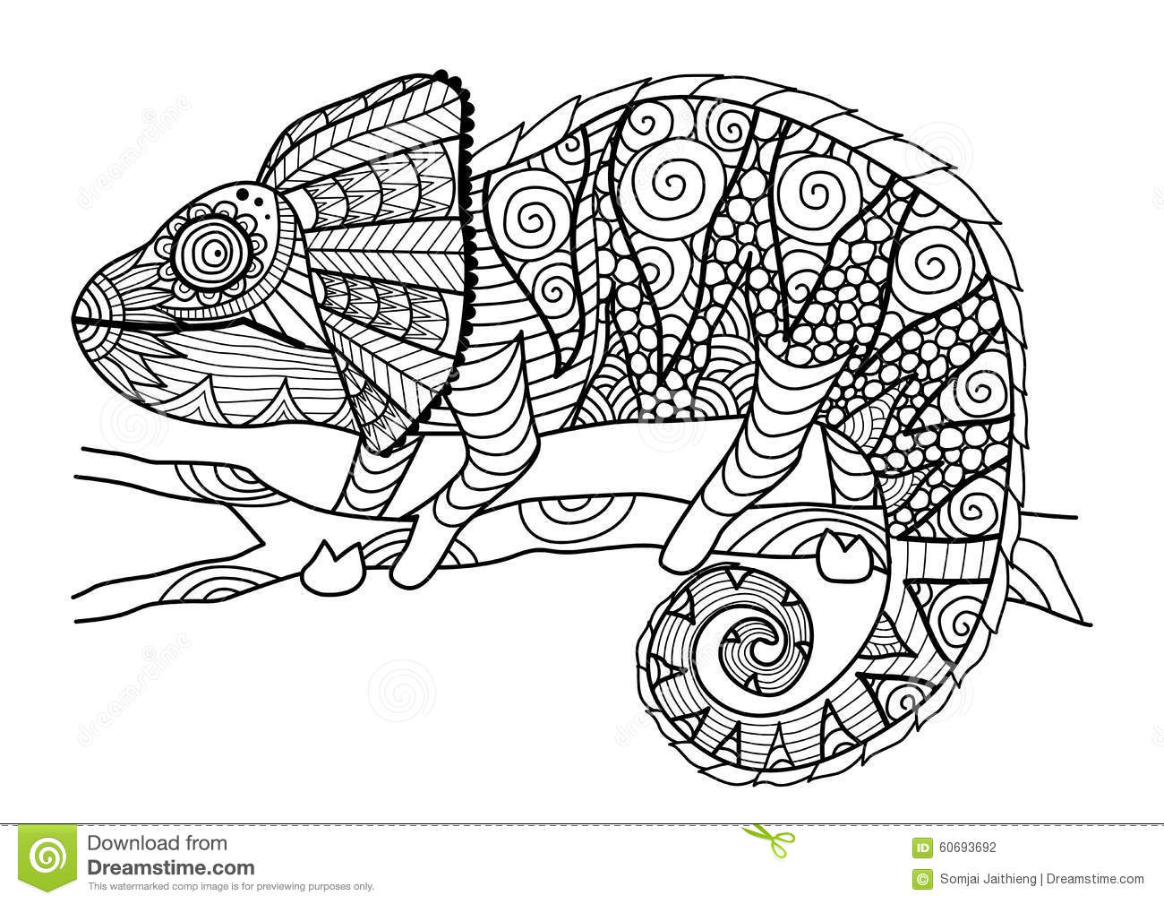 Hand Drawn Chameleon Zentangle Style For Coloring Book