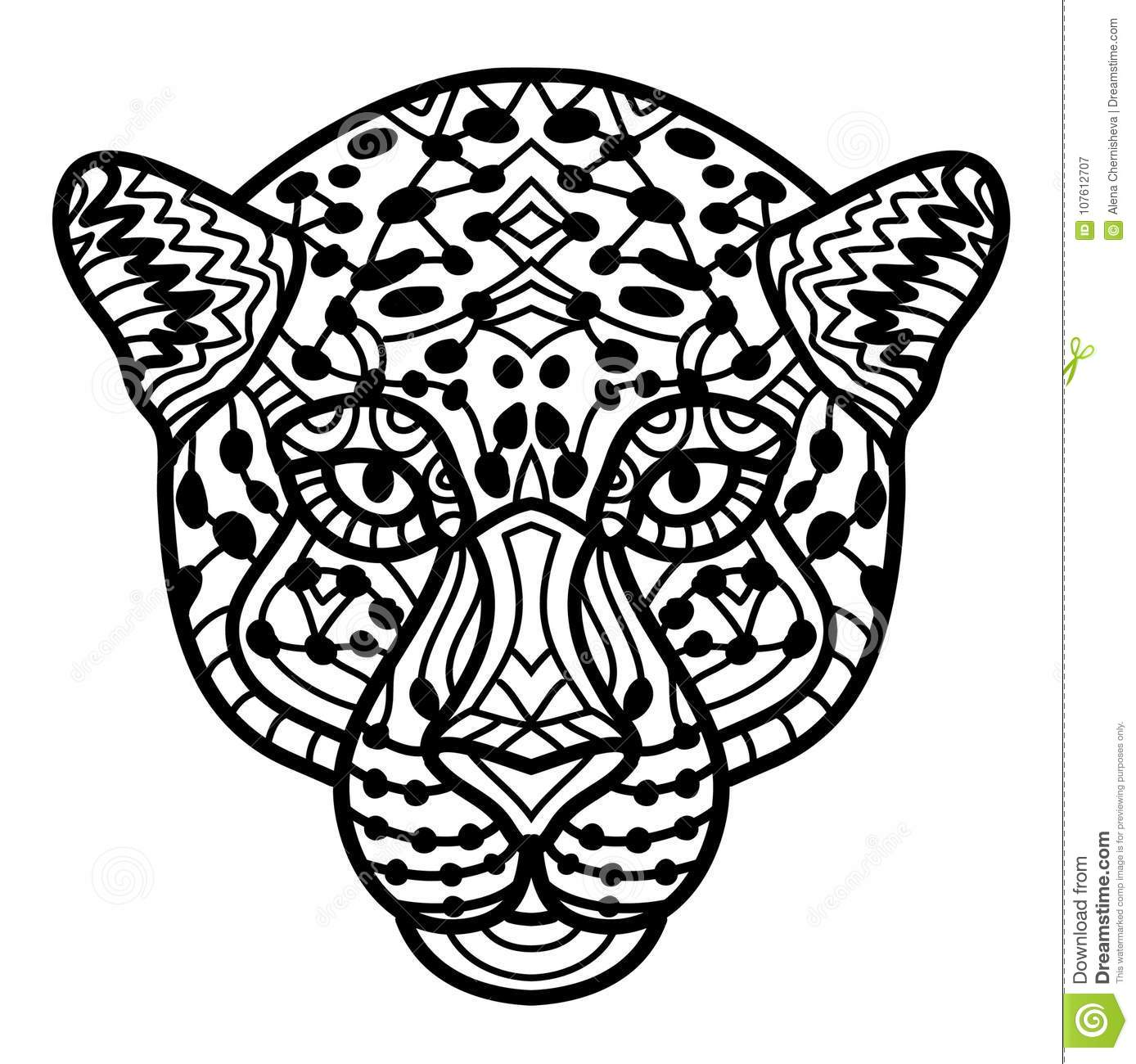 Hand-drawn Cheetah With Ethnic Doodle Pattern. Coloring Page ...