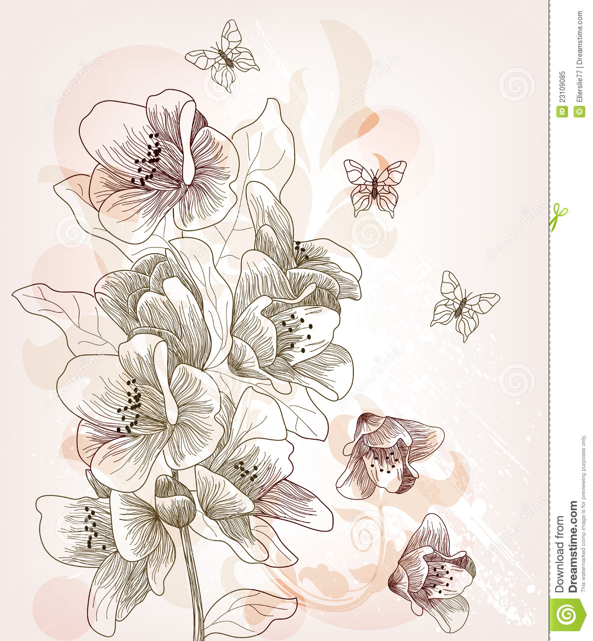 Uncategorized Cherry Blossom Branch Drawing hand drawn cherry blossom branch stock vector image 23109085 royalty free photo download branch