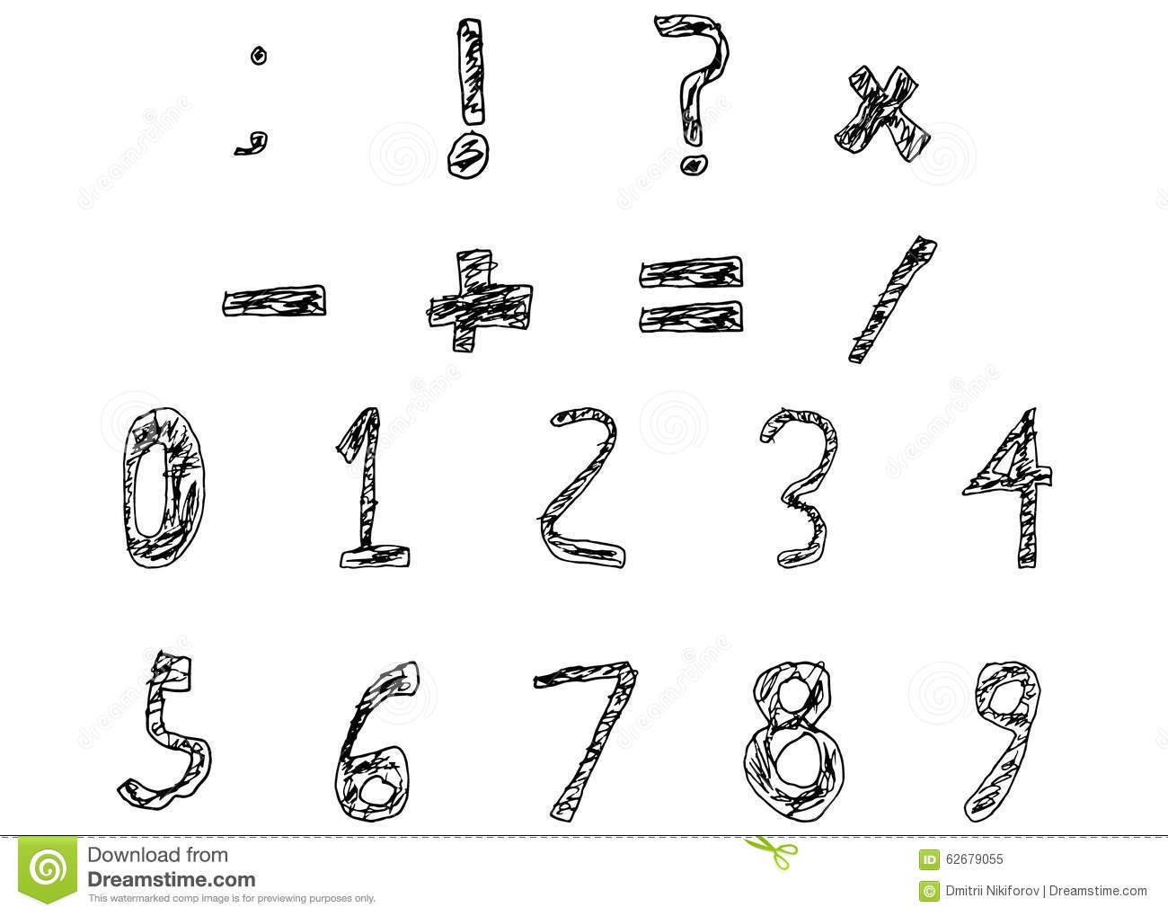 Hand Drawn Child Numbers And Basic Math Signs Filled Bold Stock ...