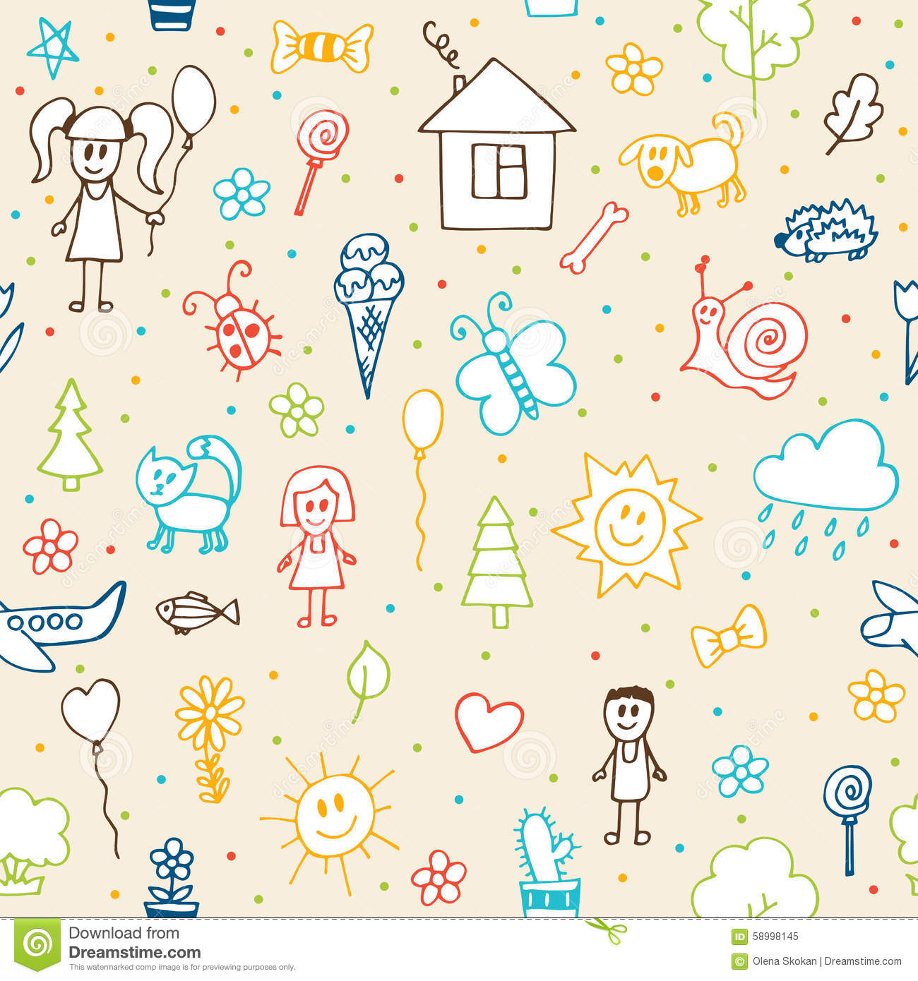 Scribble Drawing Kids : Hand drawn children drawings seamless pattern doodle