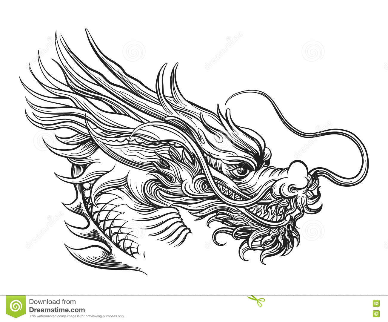 how to draw a japanese dragon head
