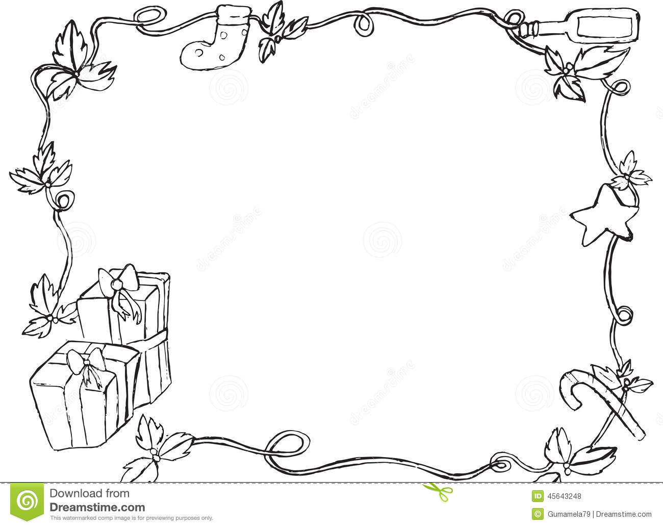 Christmas Border Black And White.Hand Drawn Christmas Border Stock Illustration