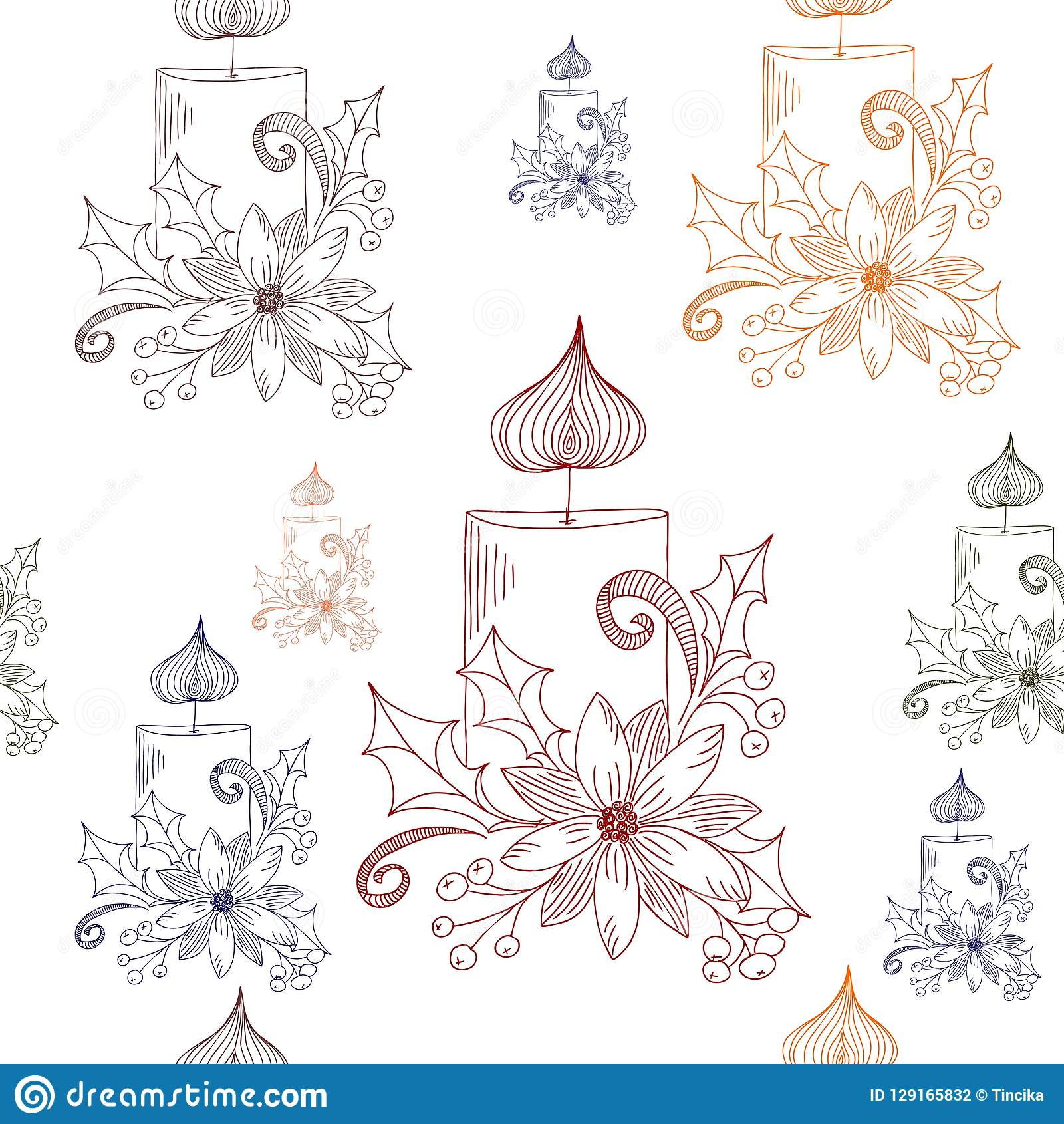 Hand Drawn Christmas Candle Decoration, Vector Seamless