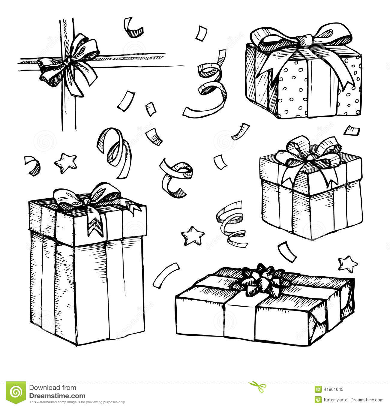 Hand Drawn Christmas Card With Gift Boxes. Line Art Stock Vector - Image 41861045