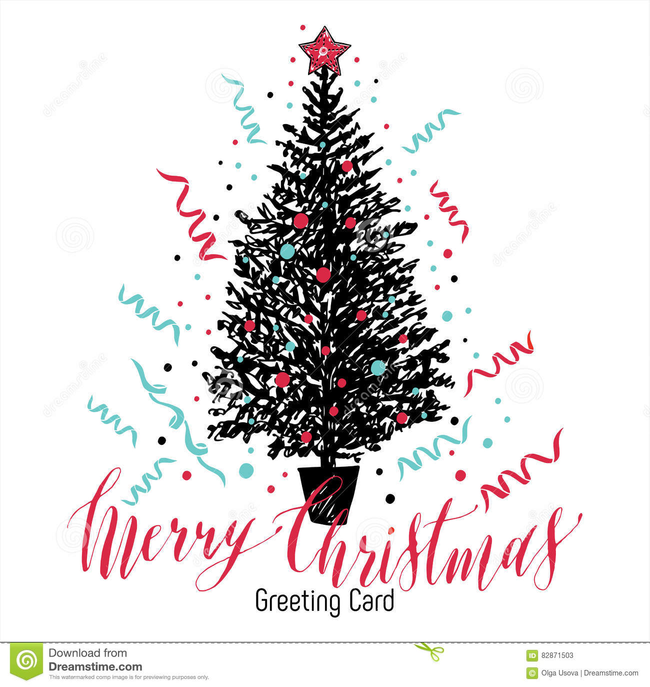 Hand Drawn Christmas Card. New Year Tree With Balls. Stock Vector ...