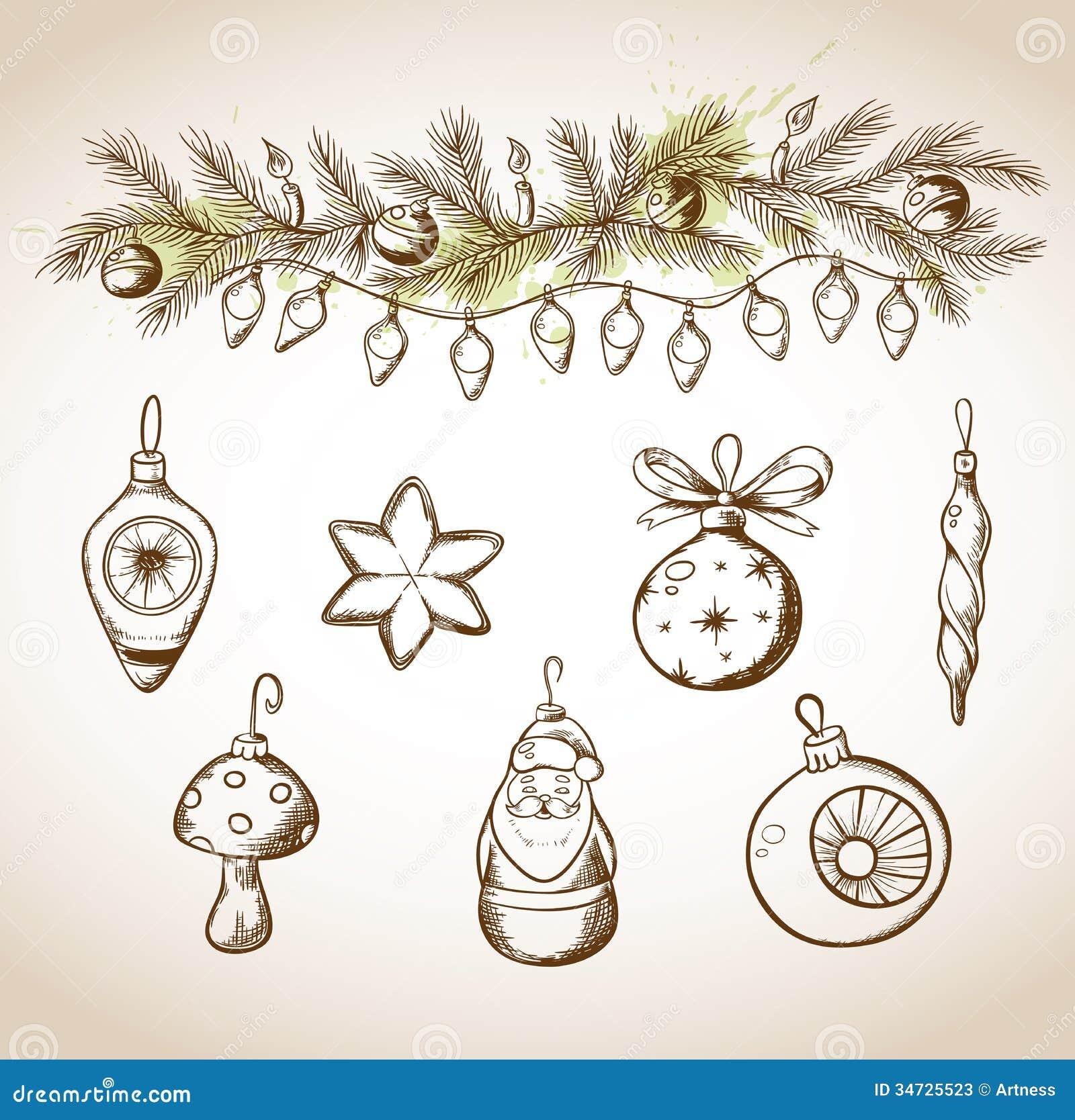 Hand Drawn Christmas Decorations Stock Photos - Image: 34725523