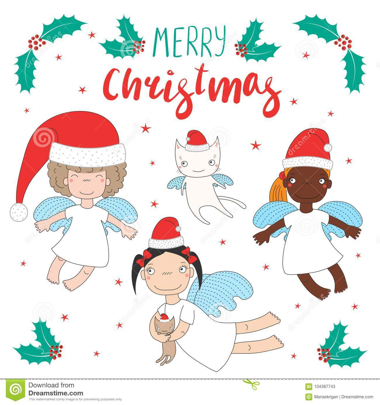 Cute Christmas angels stock vector. Illustration of funny - 104387743