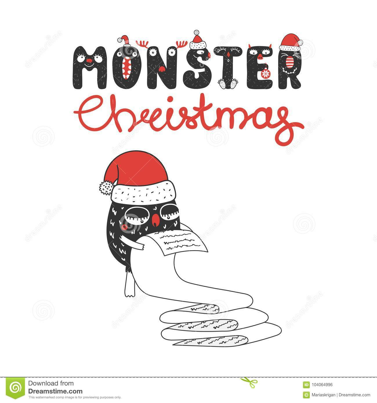 Cute and funny Christmas monster