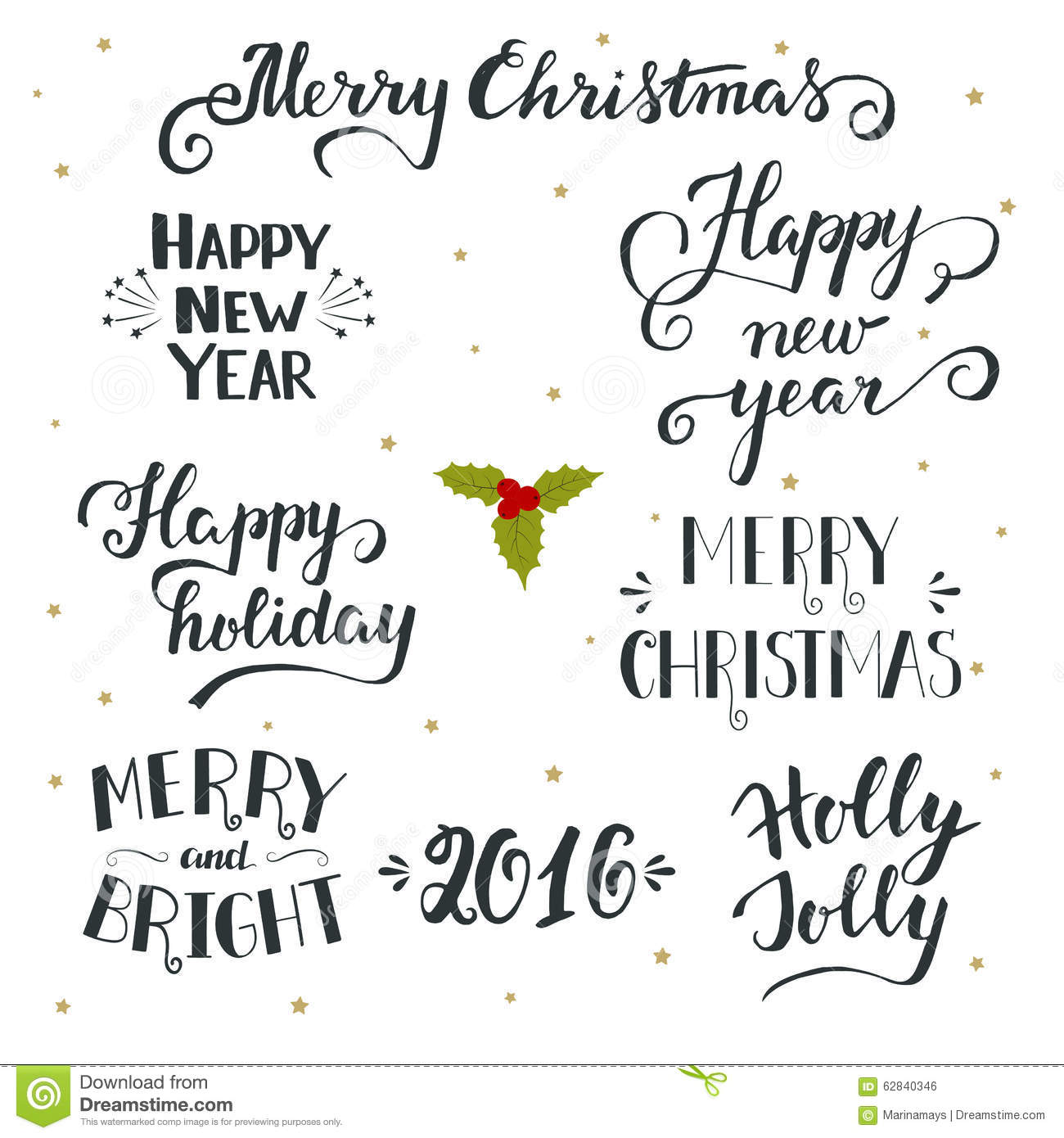 Hand Drawn Christmas And New Year Holiday Collection With