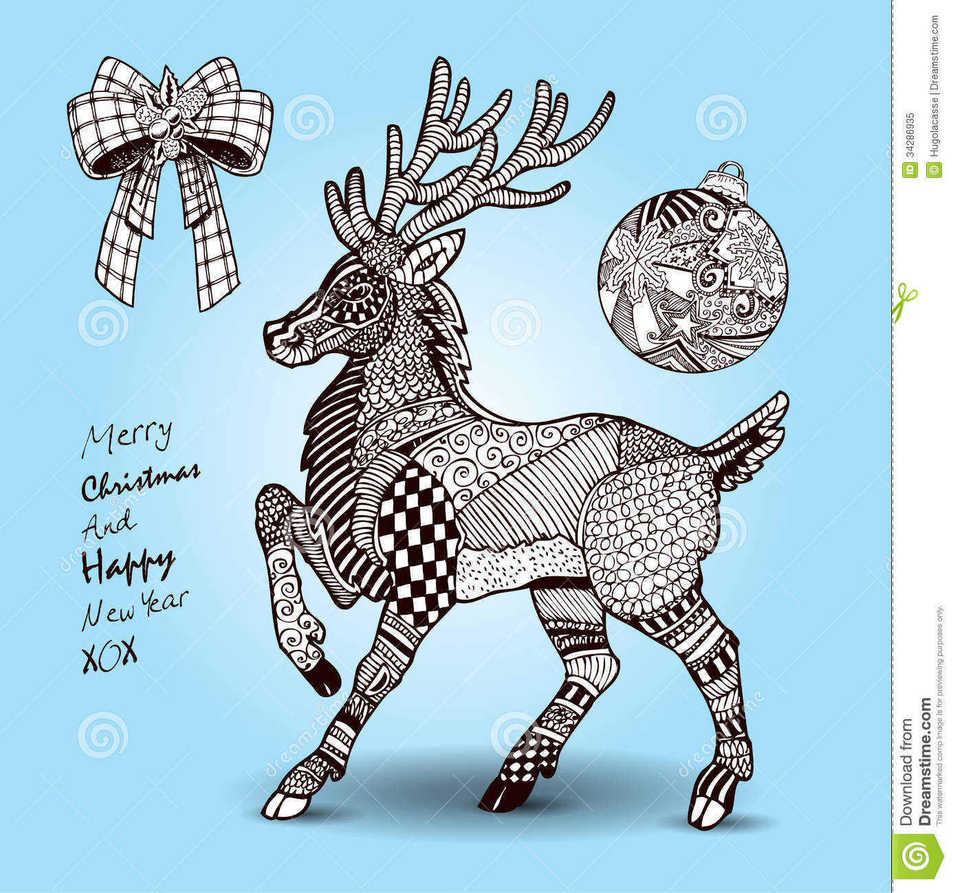 Hand Drawn Christmas Reindeer And Decorations Set Royalty Free Stock ...