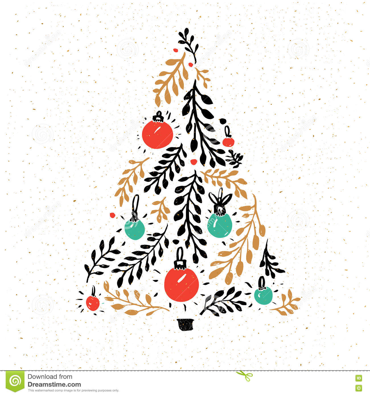 Modern decorated christmas tree - Hand Drawn Christmas Tree Decorated With Red And Green