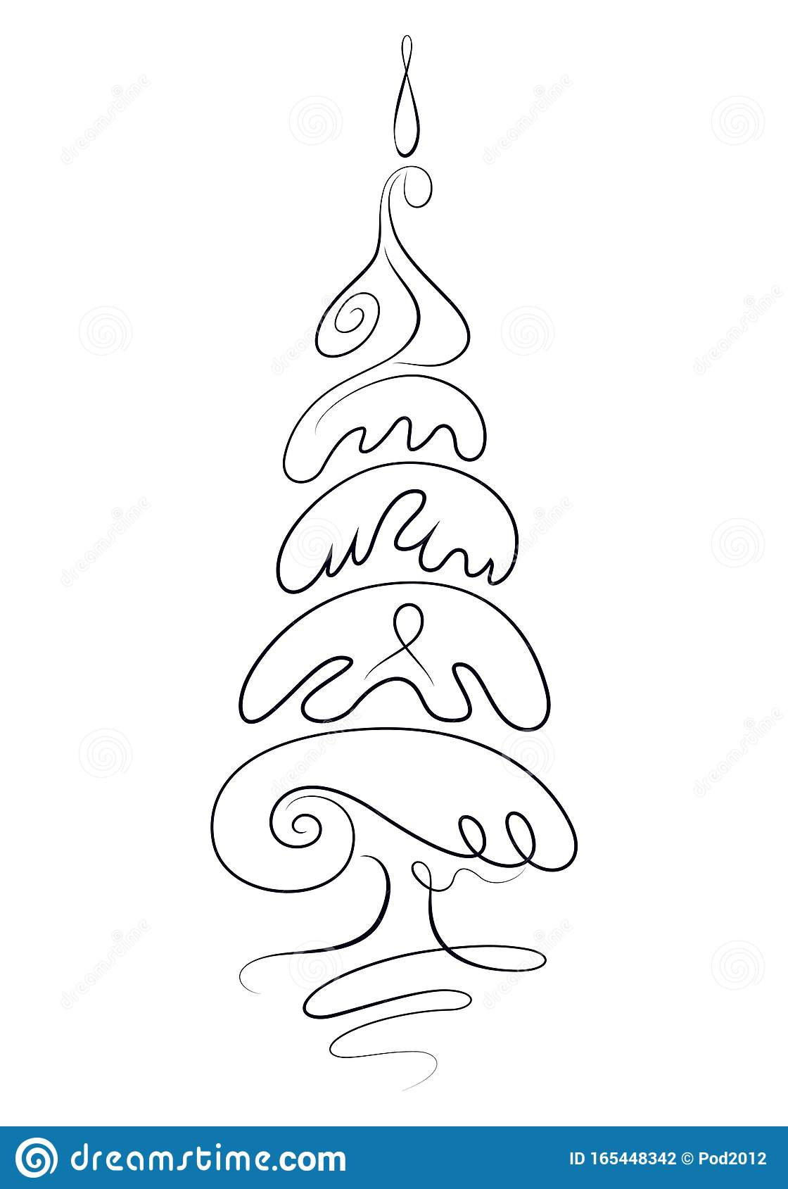 Hand Drawn Christmas Tree Sketch Isolated Vector Illustration Stock Vector Illustration Of Icon Card 165448342