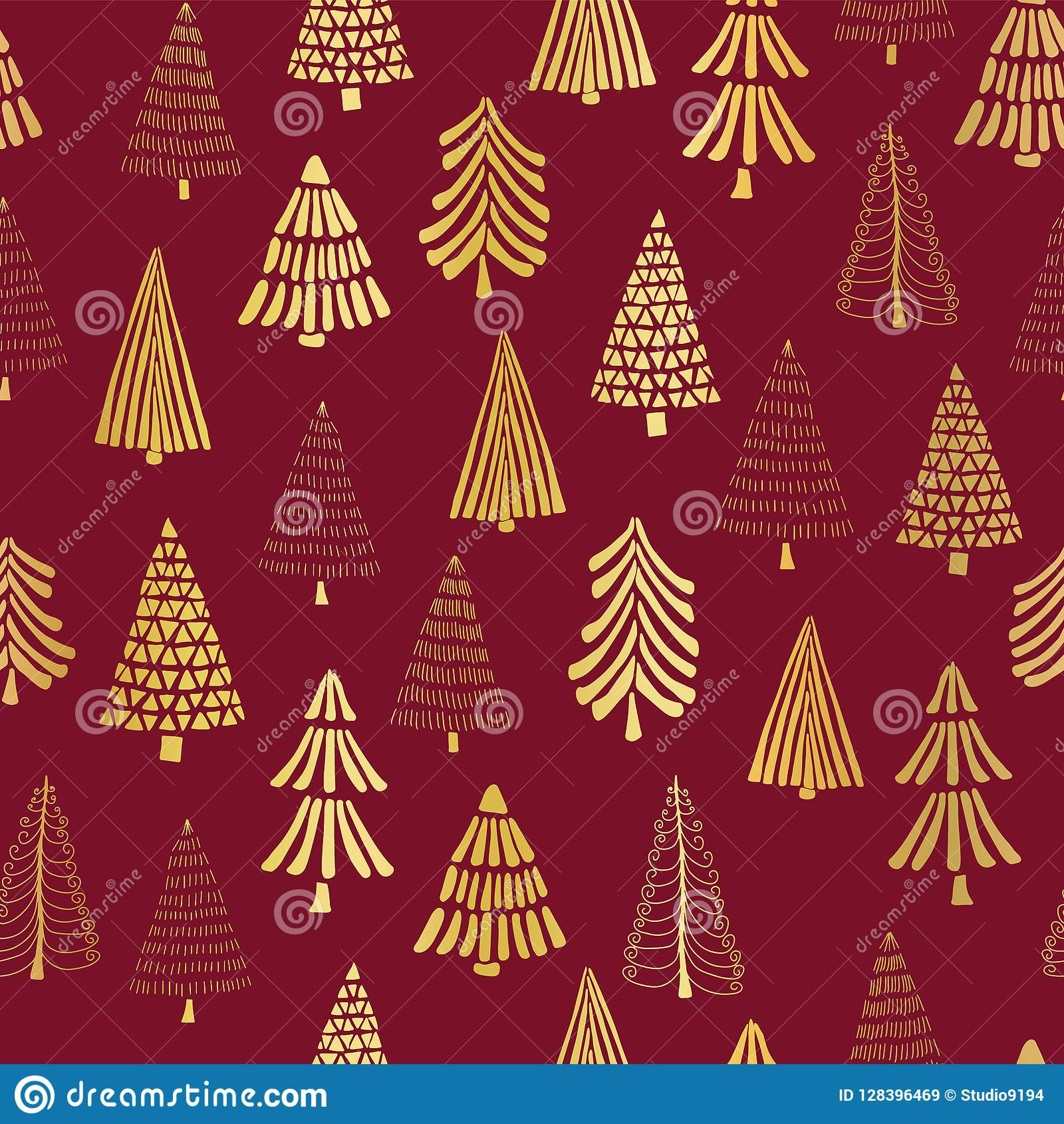 Hand drawn Christmas trees gold foil on red seamless vector pattern background. Metallic shiny golden trees. Elegant design for