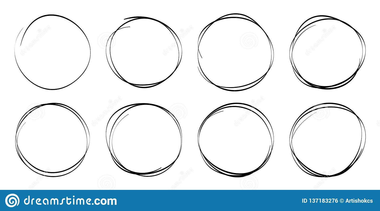 Hand drawn circles sketch frame set. Rounds scribble line circles. Doodle circular logo design elements. Vector