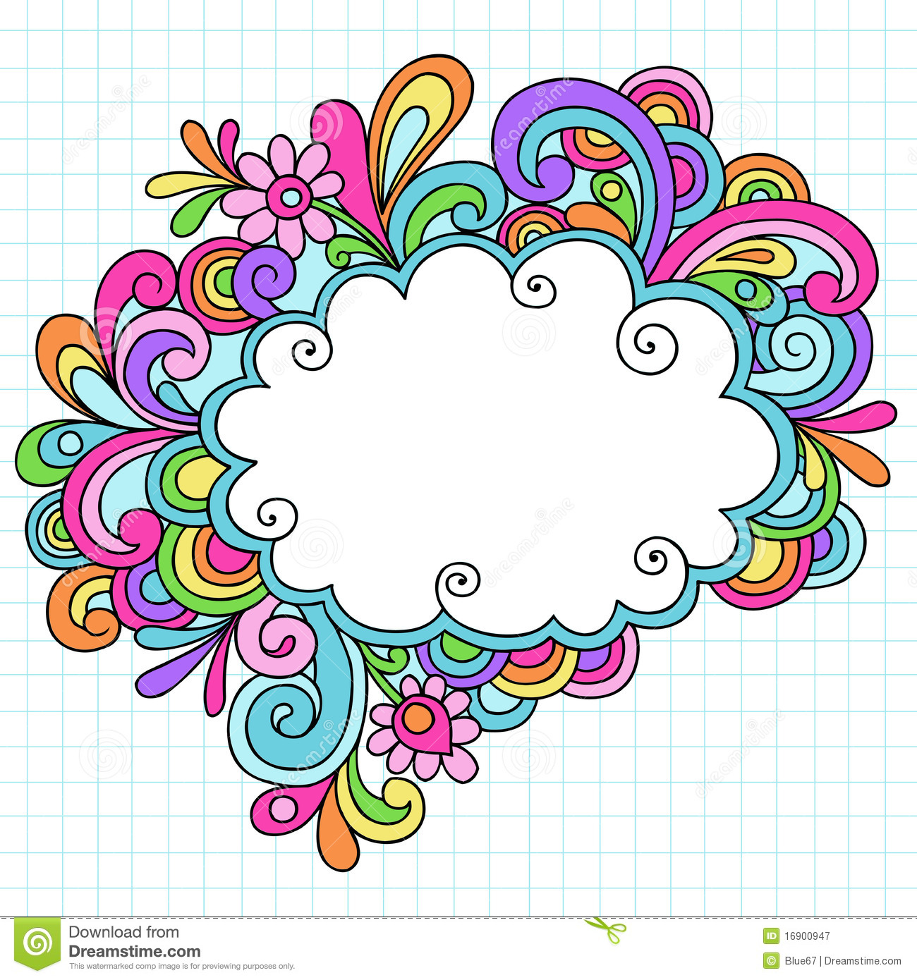 Frame Design Line Art : Hand drawn cloud notebook doodle frame stock vector