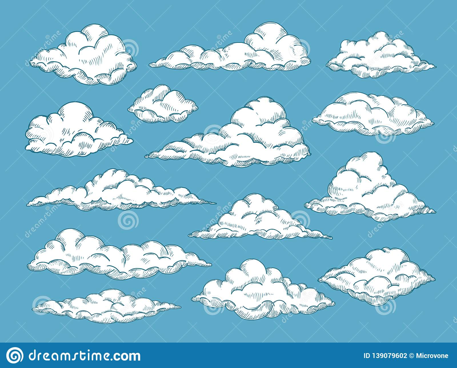 Hand drawn clouds pencil sketch sky cloudscape outline sketching
