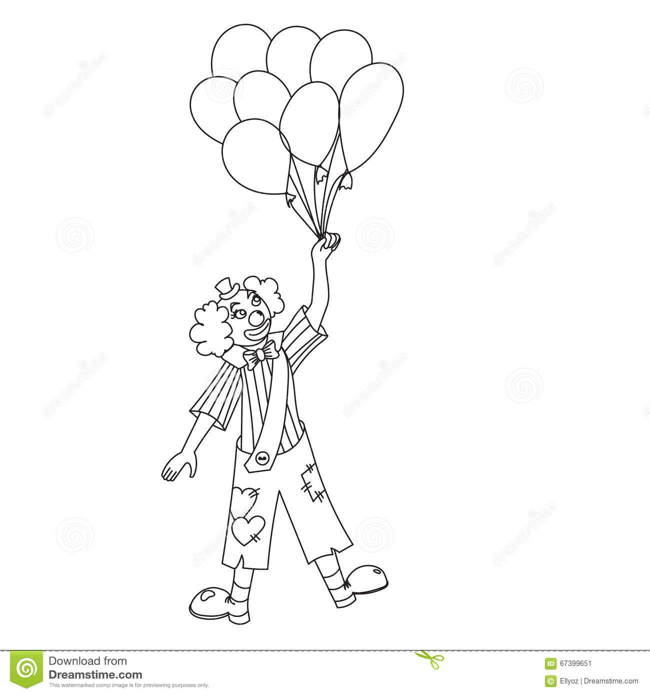 Hand drawn clown. stock vector. Illustration of birthday - 67399651