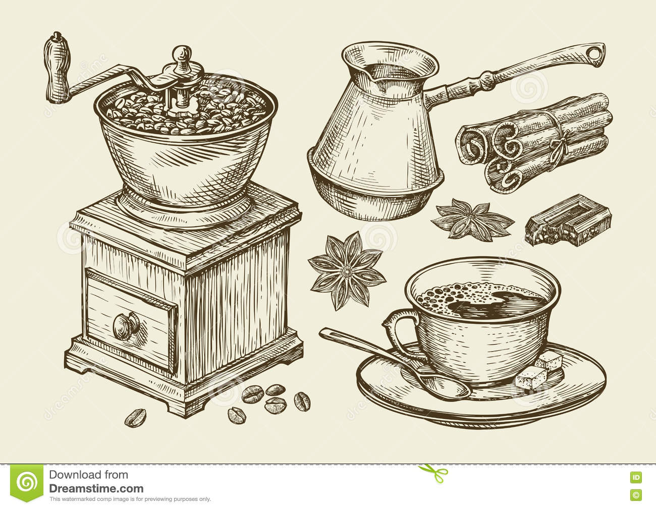Coffee Grinder Drawing ~ Hand drawn coffee grinder cup beans star anise