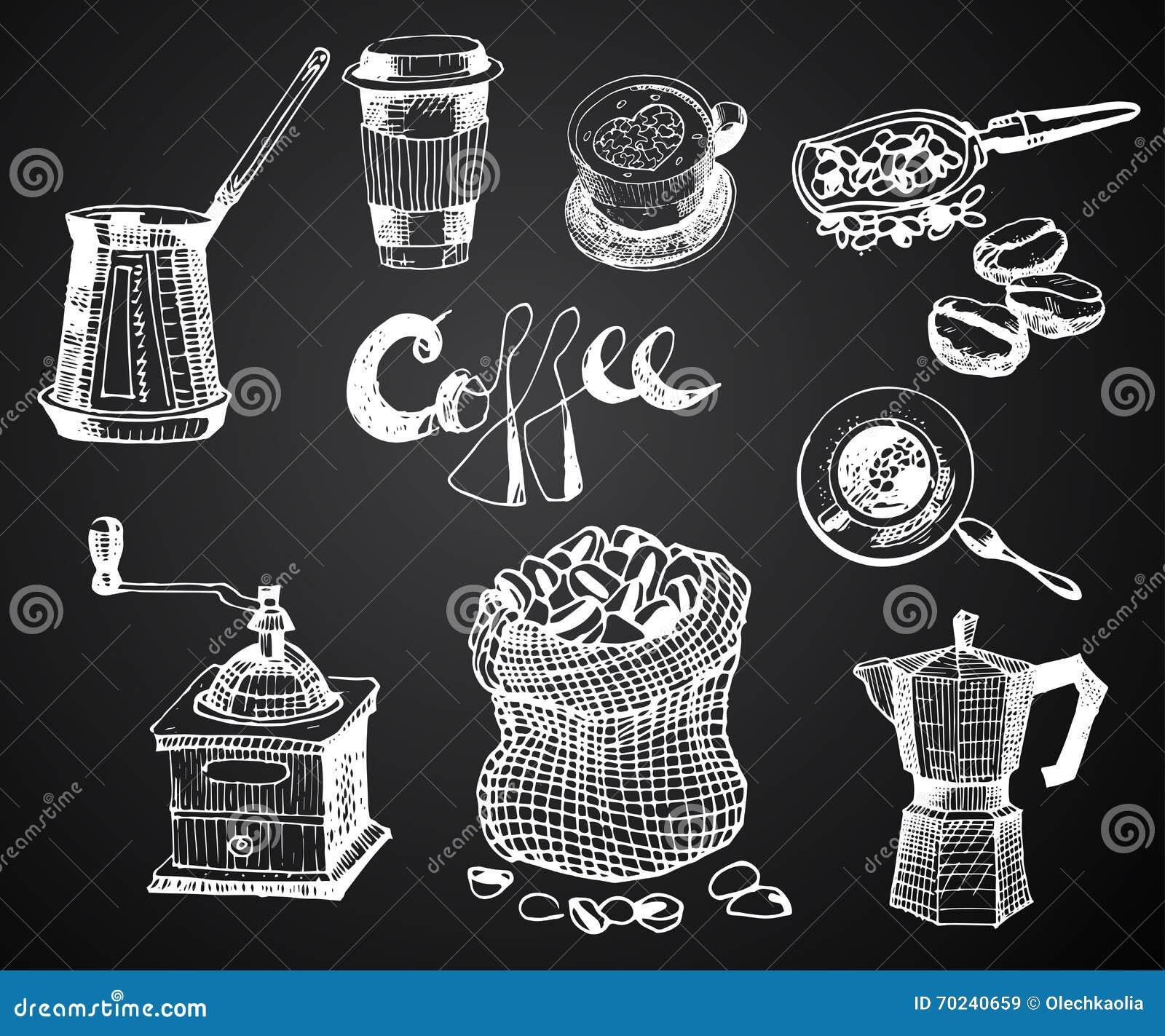 Coffee Shop Illustration Design Elements Vintage Cartoon