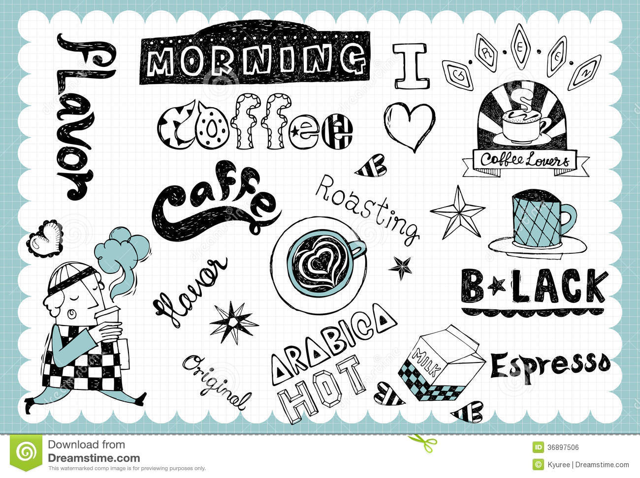 vintage coffee illustration with coffee related words in hand drawn style and on the grid background all text and illustration is hand drawn