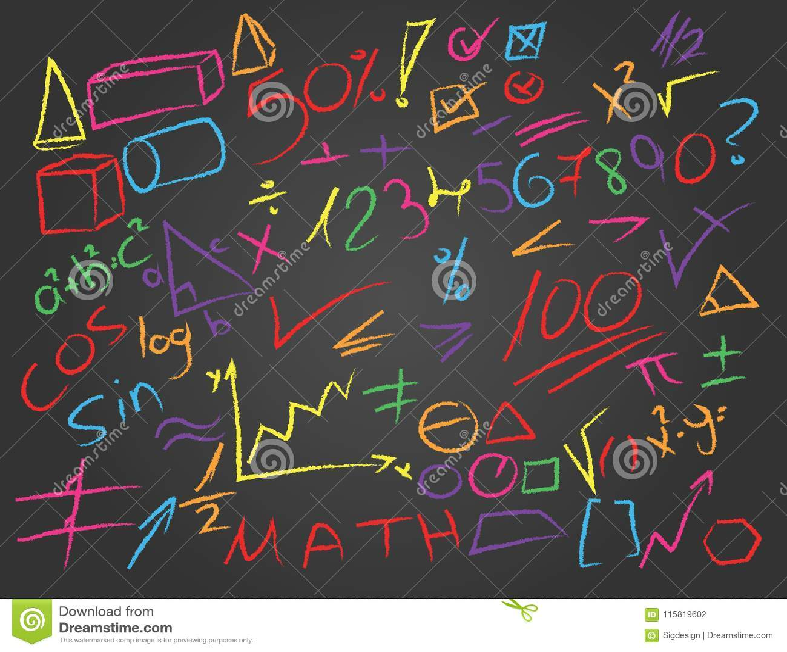 Hand Drawn Color Math Symbols On Blackboard Stock Vector