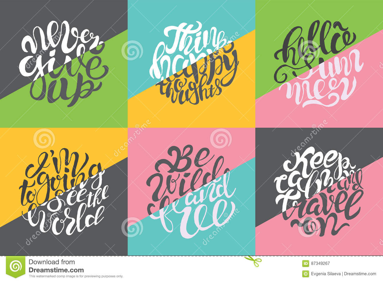 hand drawn color typography posters brush lettering design